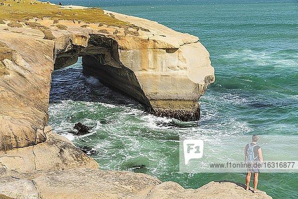 Rock formation at Tunnel Beach  Oceania  Dunedin  Otago  South Island  New Zealand  Oceania