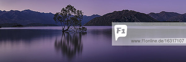 Lake Wanaka  Blue Hour  Mount-Aspiring National Park  UNESCO World Heritage Site  Otago  South Island  New Zealand  Pacific