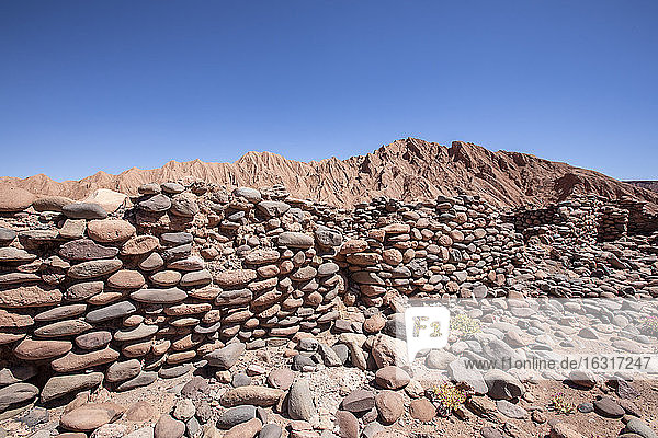 Remnants of rock structures in Tambo de Catarpe  Catarpe Valley in the Atacama Desert  Chile  South America