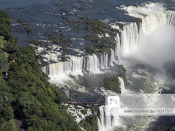 Aerial view by helicopter of Iguacu Falls (Cataratas do Iguacu)  UNESCO World Heritage Site  Parana  Brazil  South America