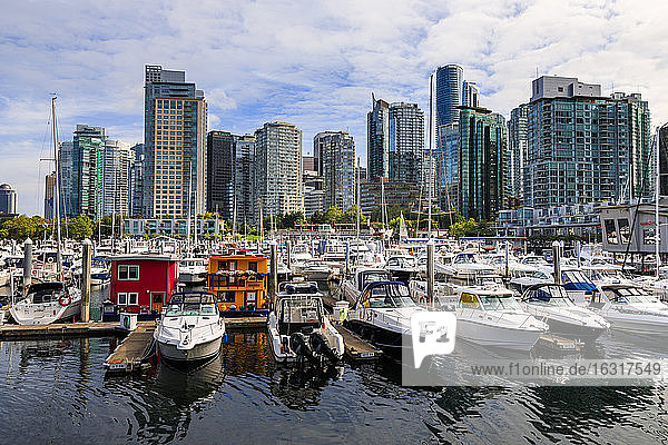 Marina at Coal Harbour  with leisure craft and house boats  city skyline  Vancouver  British Columbia  Canada  North America