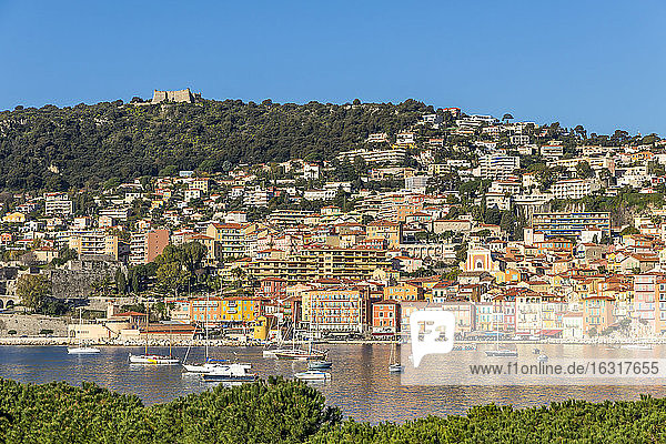 View from to the old town and Mont Alban fortress  Villefranche sur Mer  Alpes Maritimes  Cote d'Azur  French Riviera  Provence  France  Mediterranean  Europe
