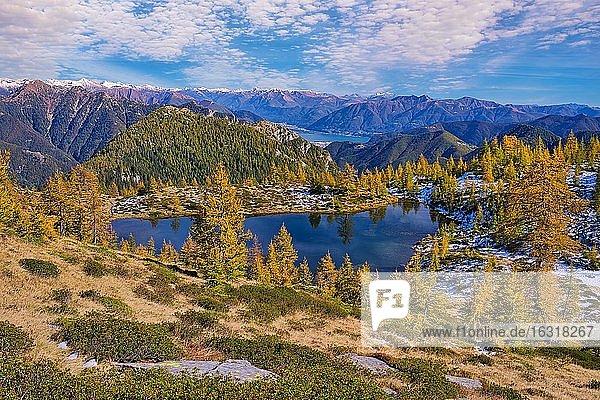 Bergsee umgeben von herbstfarbenen Lärchen (Alpe Salei)  Tal Onsernone  Kanton Tessin  Schweiz  Europa