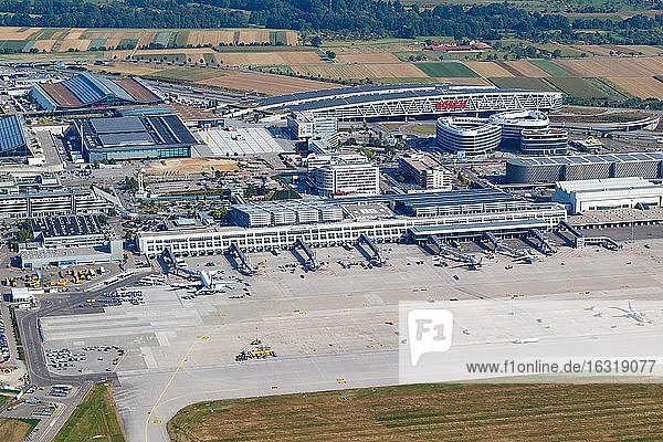 Overview Stuttgart Airport (STR) in Germany with terminals and trade fair  Stuttgart  Germany  Europe