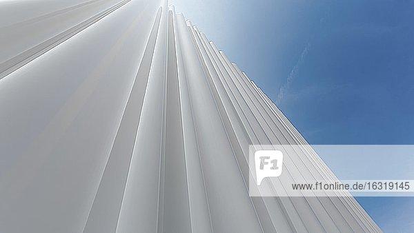 Modern white façade of corrugated acrylic glass  backlighting  Architects Kazuyo Sejima and Ryue Nishizawa  Vitra Campus  Vitra Design Museum  Weil am Rhein  Baden-Württemberg  Germany  Europe