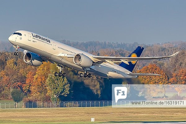 An Airbus A350-900 of Lufthansa with the registration D-AIXG at Munich Airport (MUC)  Munich  Germany  Europe