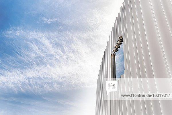 Modern white façade of corrugated acrylic glass with window  SANAA production hall  Architects Kazuyo Sejima and Ryue Nishizawa  Vitra Campus  Vitra Design Museum  Weil am Rhein  Baden-Württemberg  Germany  Europe
