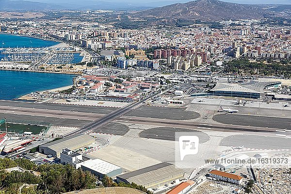 Overview Gibraltar Airport (GIB) with runway and terminal  Gibraltar  Europe