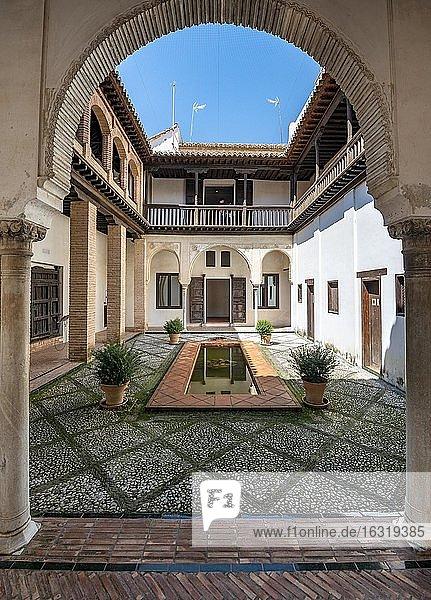 Patio  Casa Morisca de la calle Horno de Oro  old Moorish house with inner courtyard and well  Granada  Andalusia  Spain  Europe