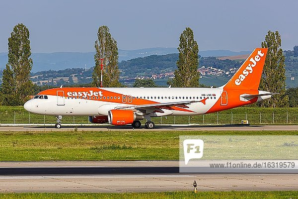 An EasyJet Switzerland Airbus A320 with the registration number HB-JXC at EuroAirport Basel Mulhouse (EAP)  Mulhouse  France  Europe