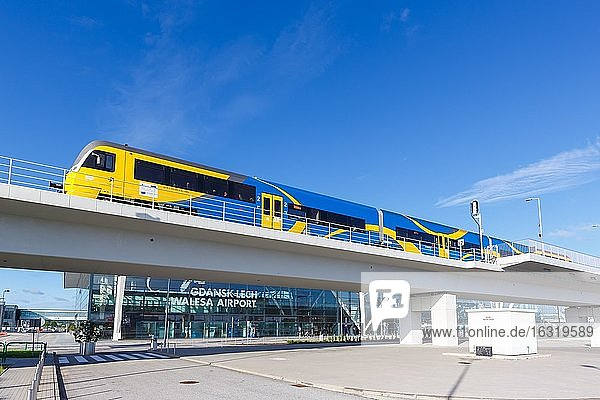 Regional train in front of the terminal of Gdansk Airport Gdansk Lech Walesa Airport (GDN)  Gdansk  Poland  Europe