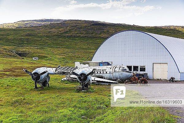 Icelandic Folk and Aviation Meum (US) Hnjótur  Egill Olafsson UsMeum with aircraft wreck Navy aircraft  Örlygshöfn  Patreksfjörður  Patreksfjördur  Vestfirðir  Westfjords  Iceland  Europe