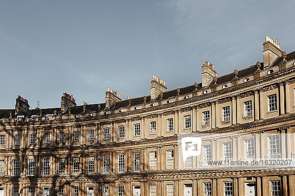 Sunny curved building  Bath  Somerset  UK