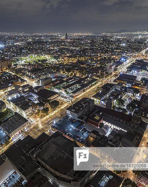 Illuminated aerial view Mexico City at night  Mexico