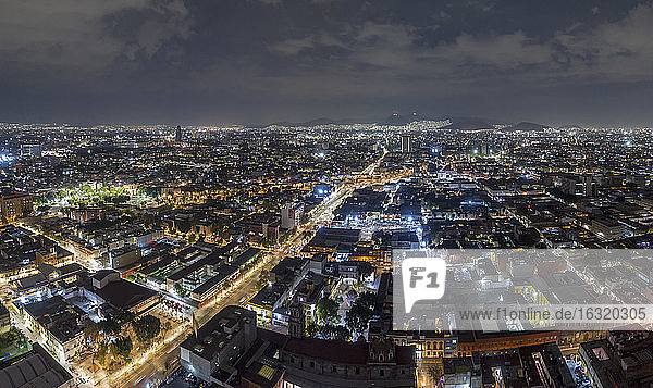 Aerial view Mexico City at night  Mexico