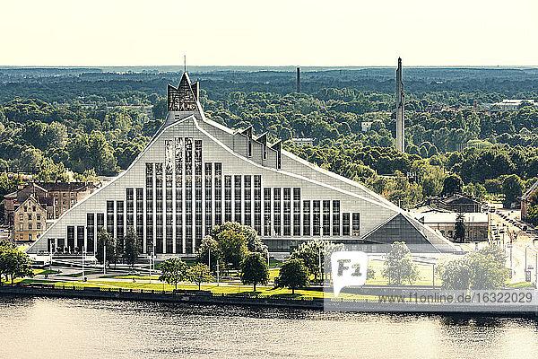 Latvia  Riga  national library at Daugava River
