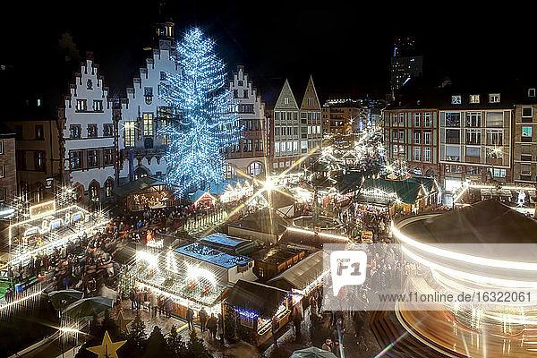 Germany  Hesse  Frankfurt  Christmas market at night