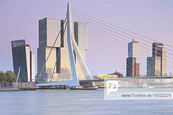 Netherlands  County of Holland  Rotterdam  View to Erasmus bridge and KPN Tower by Renzo Piano De Rotterdam building by Rem Koolhaas