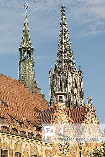 Germany  Baden-Wuerttemberg  Ulm  minster and town hall
