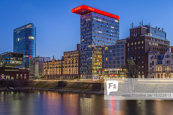 Germany  Duesseldorf  Media harbour  High-rise building Colorium  blue hour