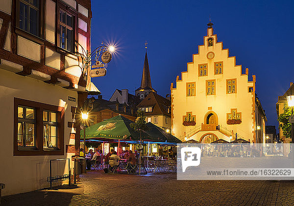 Germany  Bavaria  Karlstadt  town hall and market square
