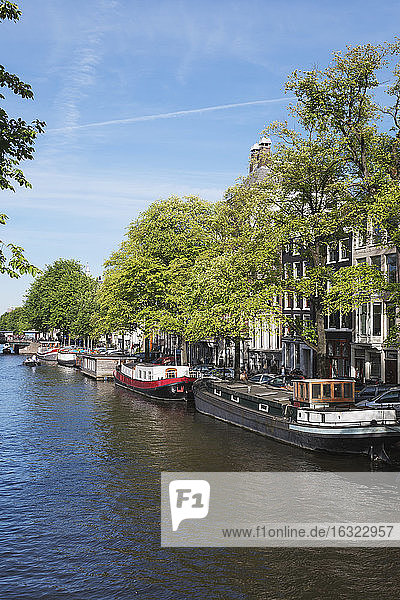 Netherlands  County of Holland  Amsterdam  town canal with house boats