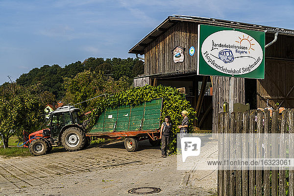Germany  Bavaria  Attenhofen  gateway to hop farm