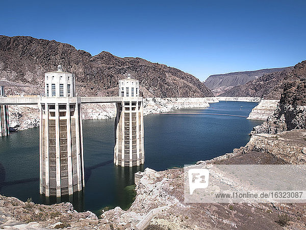 USA  Nevada  Hoover Dam and Lake Mead showing fallen water levels
