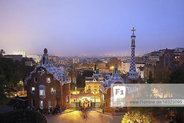 Spain  Barcelona  Park Guell at twilight
