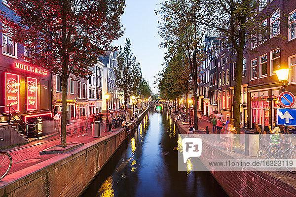Netherlands  Amsterdam  De Wallen  Oudezijds Achterburgwal at twilight