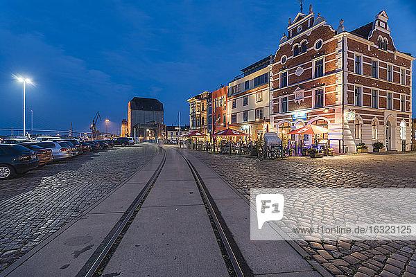 Germany  Mecklenburg-Western Pomerania  Stralsund  Hafenstrasse  Houses at harbour