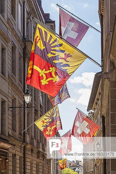 Switzerland  Geneva  Rue de Hotel de Ville  flags of city  canton and state
