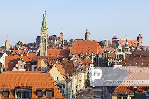 Germany  Bavaria  Nuremberg  Old town  cityscape with Sebaldus Church and Kaiserburg