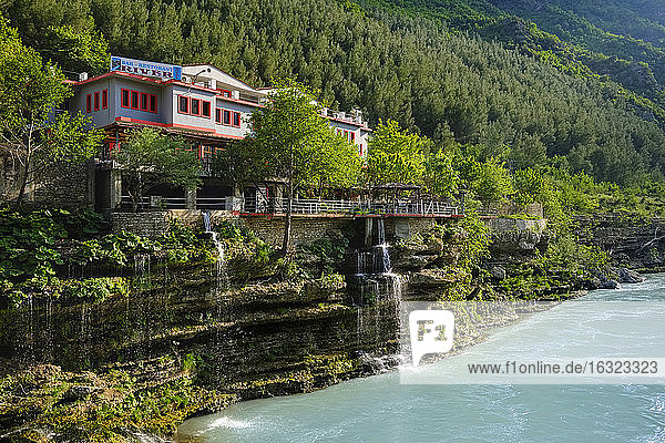 Albania  Kelcyra  Kelcyra canyon  Hotel at Vjosa river