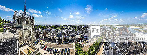 France  Amboise  view to Chapel of St Hubertus and the old town from above