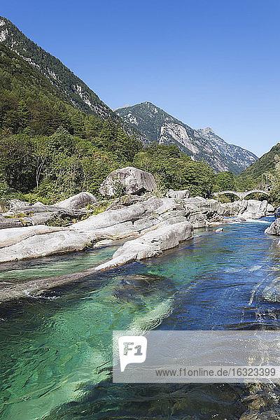Switzerland  Ticino  Val Verzasca  Verzasca river  Lavertezzo  Ponte dei Salti bridge