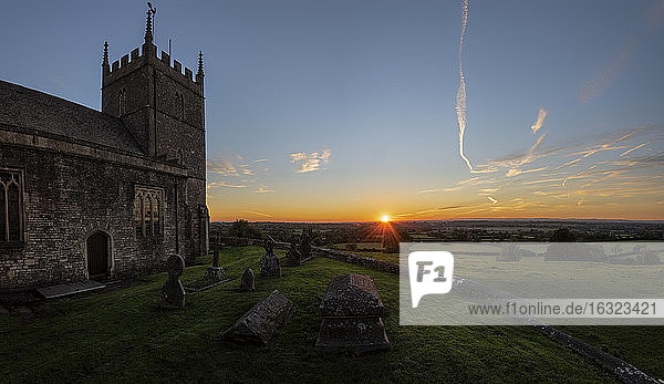 United Kingdom  England  Old Sodbury  Church of Saint John the Baptist at sunset