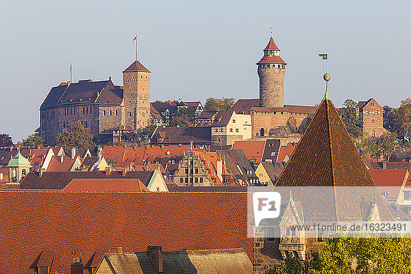 Germany  Bavaria  Nuremberg  Old town  cityscape with Nuremberg Castle and Debtor's prison right