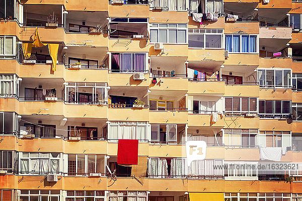 Spain  Baleares  Mallorca  apartment building with recessed balconies