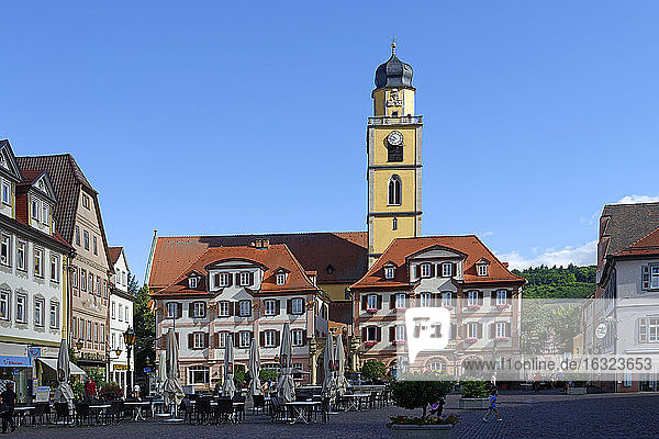 Germany  Bad Mergentheim  twin houses and tower of St John's Minster