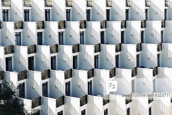 Spain  Baleares  Mallorca  apartment building with rows of balconies