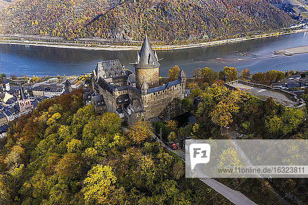 Germany  Bracharach  Aerial view of Stahleck Castle