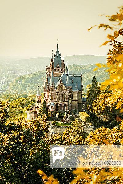 Germany  Bonn  Drachenburg Palace  Dragon's Rock in autumn