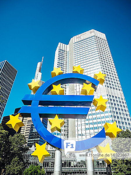 Germany  Frankfurt  euro sign in front of Eurotower