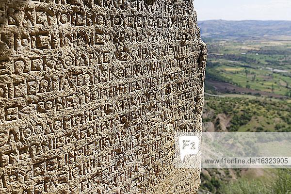 Turkey  Anatolia  South East Anatolia  Adiyaman Province  Kahta  Nemrut Dagi National Park  Arsameia on the Nymphaios  Inscription of Antiochos I.