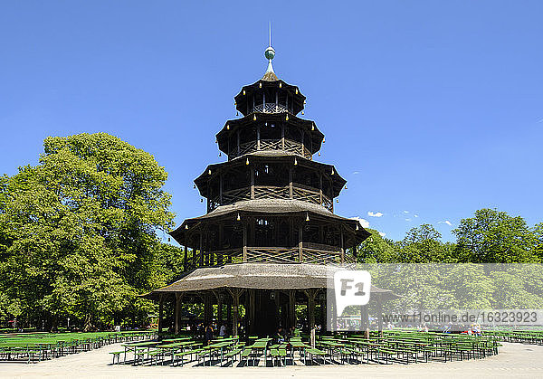 Germany  Munich  English Garden  Chinese Tower and beer garden