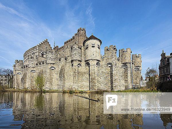 Belgium  Ghent  Old Town  Gravensteen Castle  River Leie