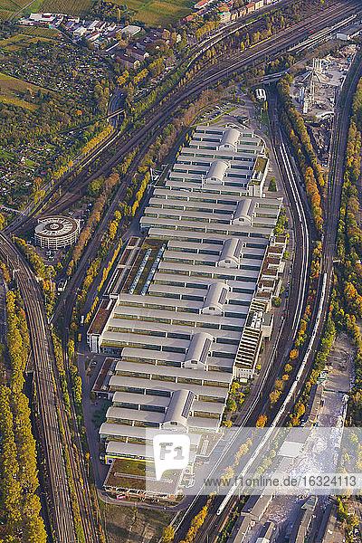 Germany  Baden-Wuerttemberg  Stuttgart  aerial view of Mercedes-Benz engine works