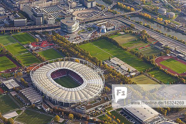 Germany  Baden-Wuerttemberg  Stuttgart  aerial view of Neckarpark with Mercedes-Benz Arena