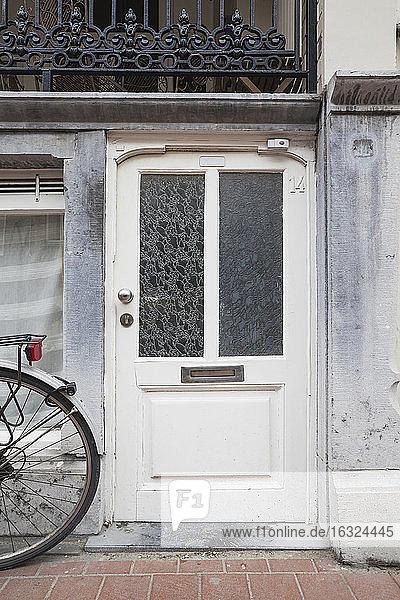 Belgium  Flanders  Blankenberge  entry door of an old house